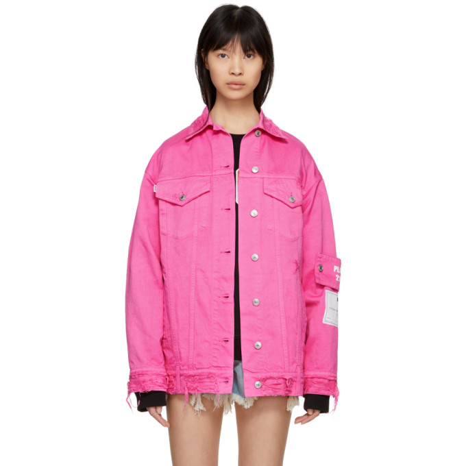 Pink Oversized Pocket Denim Jacket by Msgm