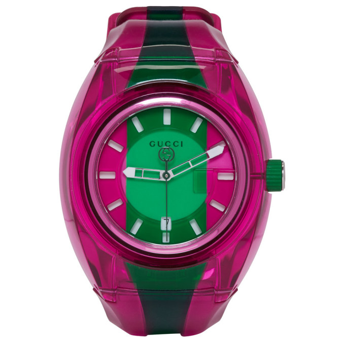 Sync Striped Rubber Watch, Pink