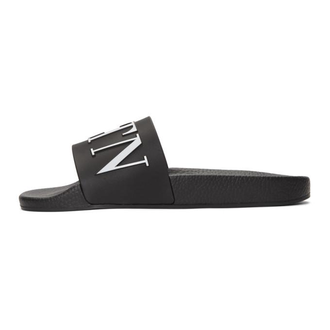 Valentino Black Valentino Garavani PVC 'VLTN' Sandals