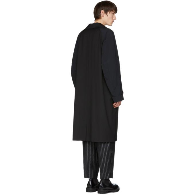 Black Contrast Sleeves Trench Coat Yang Li