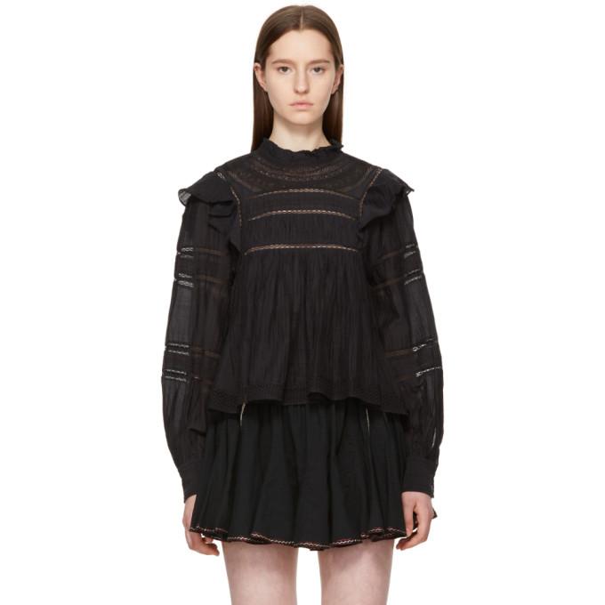 Etoile Isabel Marant Cottons ISABEL MARANT ETOILE BLACK LACE VIVIANNA BLOUSE