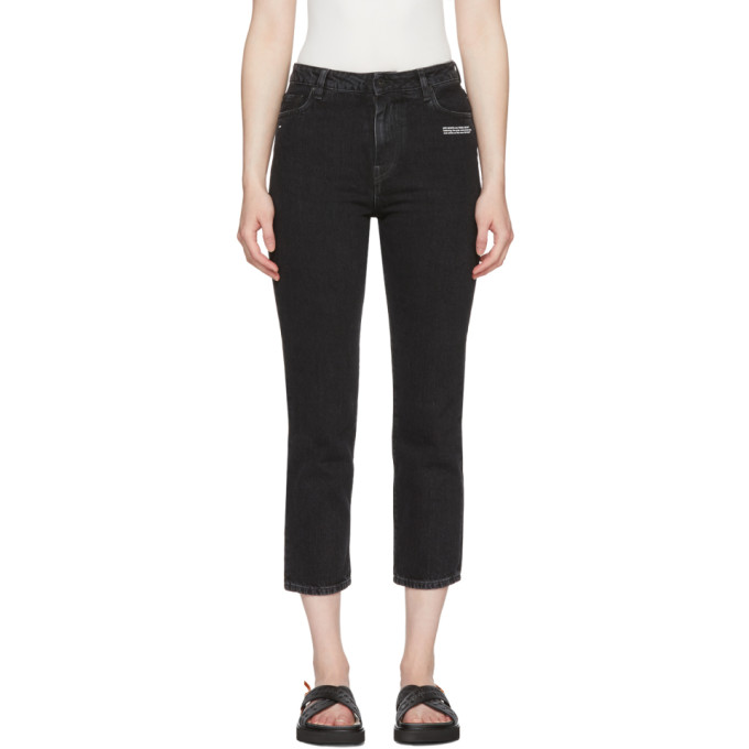 Black Crop Belt Tight Jeans by Off White