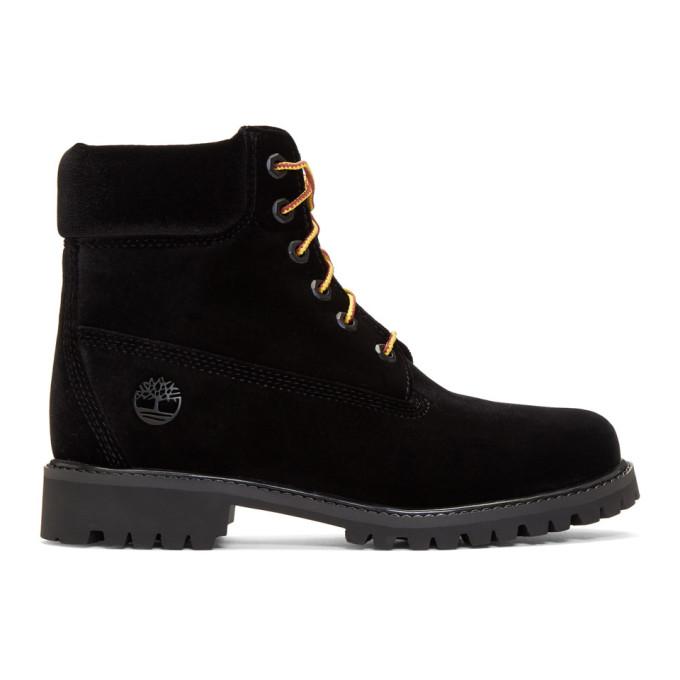 + Timberland Logo-Embossed Velvet Ankle Boots, Black