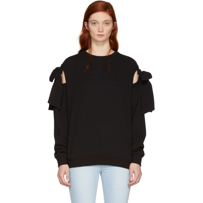 Knotted Cotton-Jersey Sweatshirt in 0090 Black