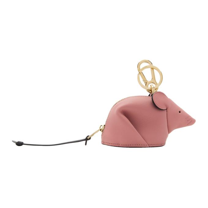 Loewe Pink Mouse Charm Keychain