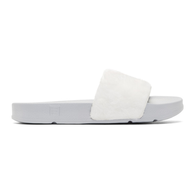 BAJA EAST WHITE AND GREY FILA EDITION SHEARLING DRIFTER SLIDES