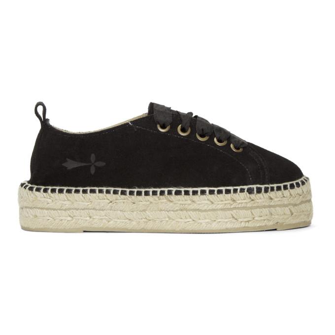 MANEBI Hamptons Flatform Sneakers in Suede Black