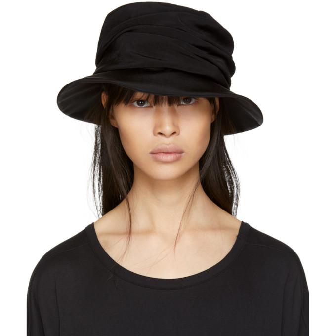 Y's Black Drape Cloche Hat