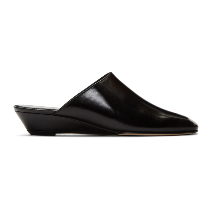 Han Leather Wedge Mules in Black