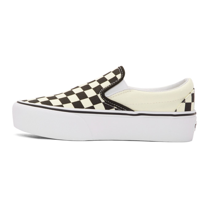 Off-White and Black Checkerboard Classic Slip-On Platform Sneakers Vans