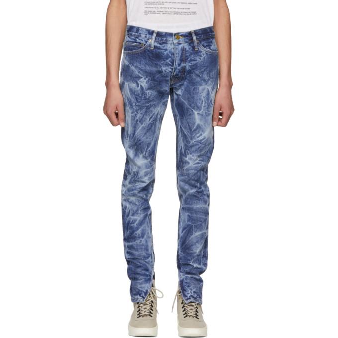 Skinny-Fit Distressed Selvedge Denim Jeans, Indigo