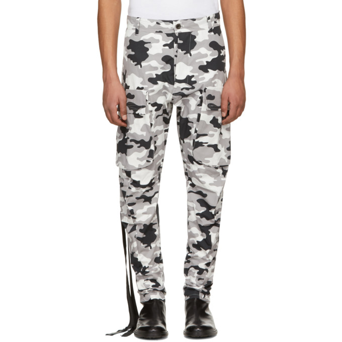 UNRAVEL Unravel Project Tapered Cargo Zip-Leg Trousers - Grey