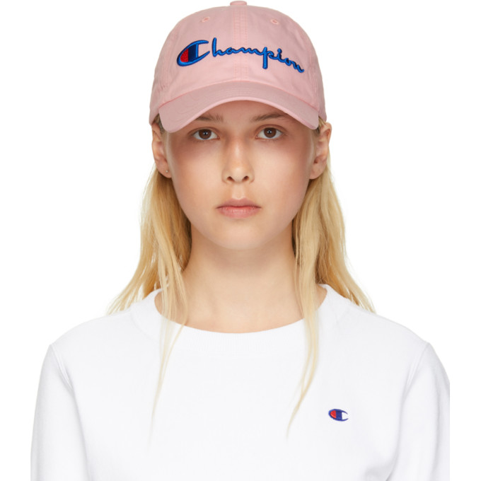 Champion Reverse Weave Pink Large Logo Baseball Cap In Cbs ... e95a9edadced