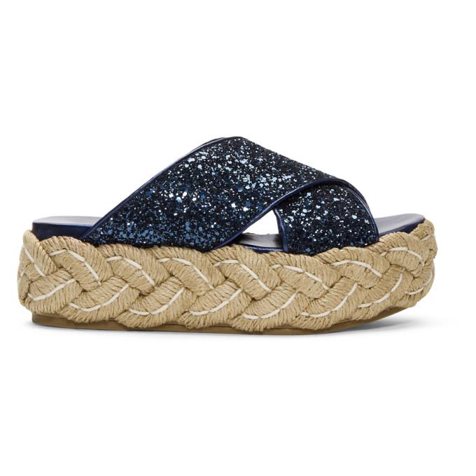 Miu Miu Glitter Criss Cross Raffla Platform Sandals