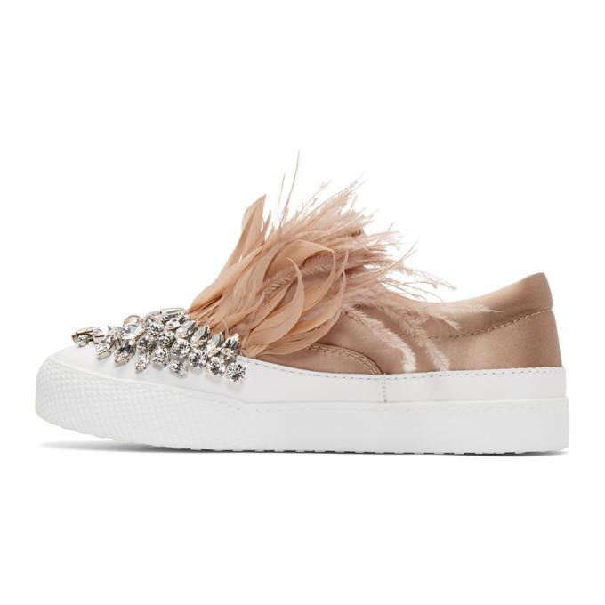 Miu Miu & Feather Crystal Slip-On Sneakers