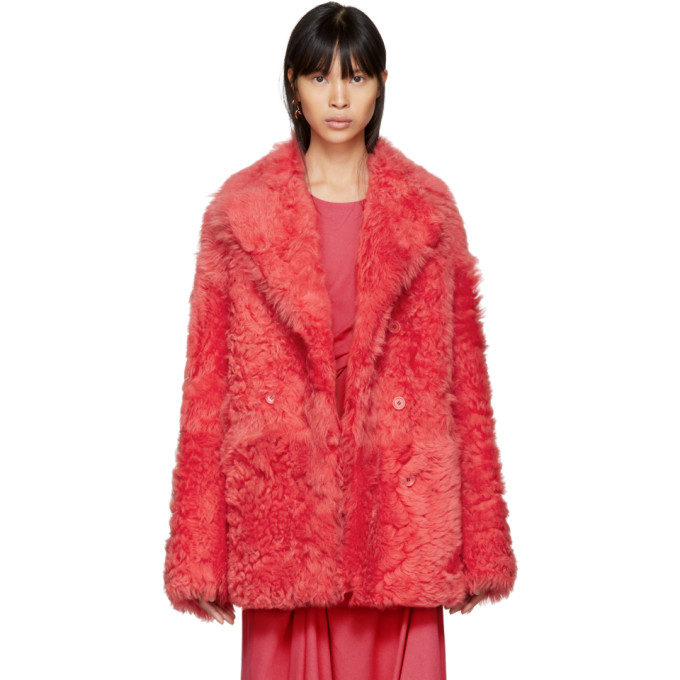 Pippa Shearling Peacoat - Coral Size S in Fuchsia