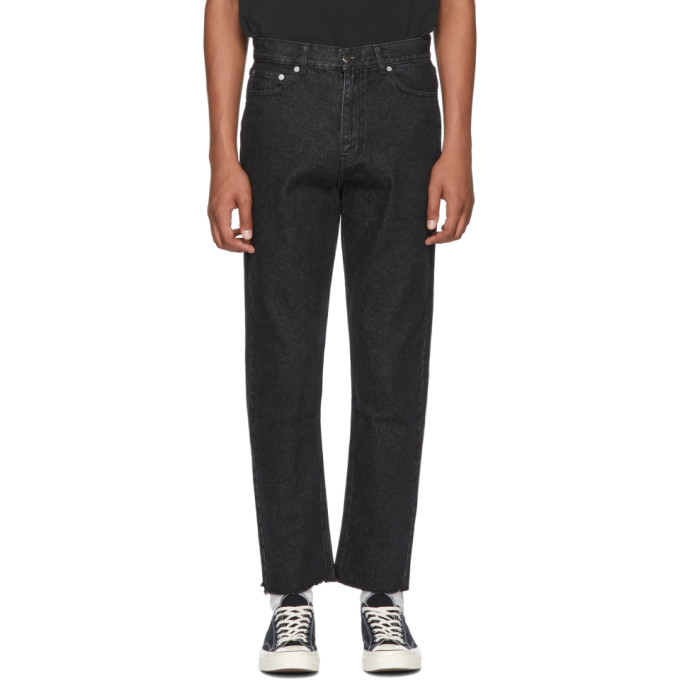 SECOND/LAYER BLACK RAW HEM JEANS