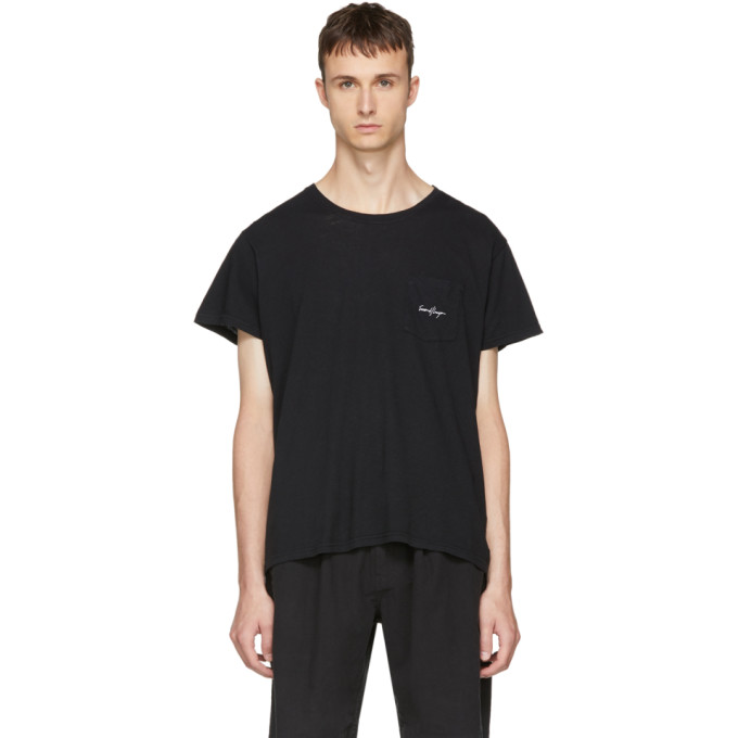 SECOND/LAYER BLACK LOGO POCKET T-SHIRT