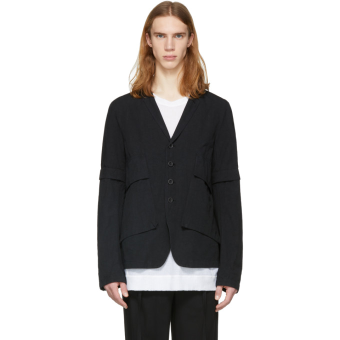 THE VIRIDI-ANNE The Viridi-Anne Black Removable Sleeves Jacket in A-Black