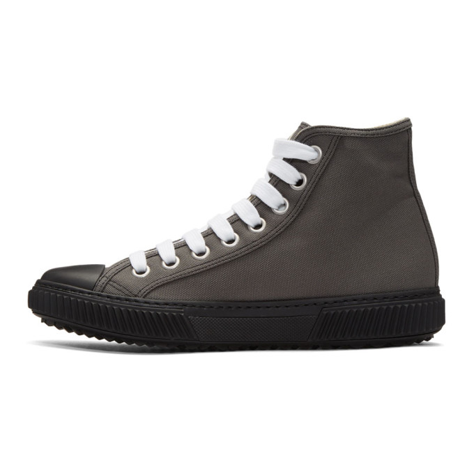 Prada Grey Canvas High-Top Sneakers