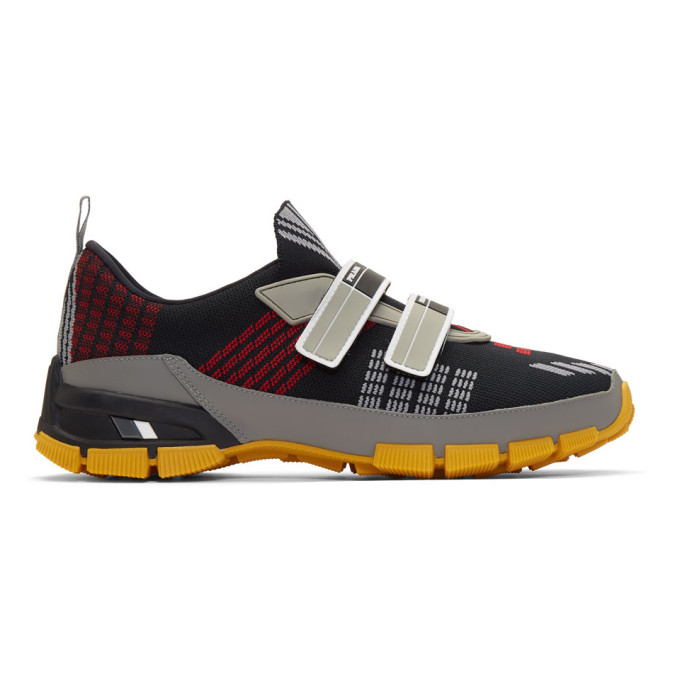 PRADA Men'S Nylon Tech Sneakers With Double Grip-Strap, Black