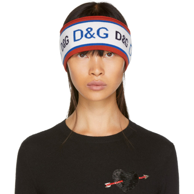 DOLCE AND GABBANA RED AND BLUE KNIT LOGO HEADBAND