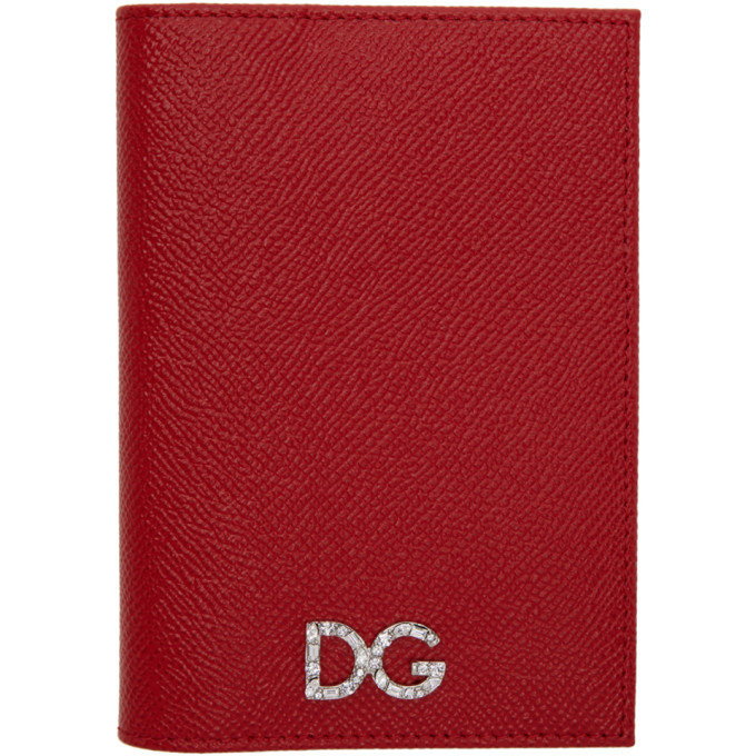 Dolce And Gabbana Red Crystal Logo Passport Holder, 80303 Red