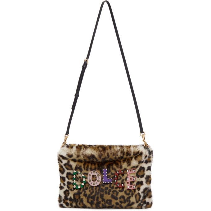 DOLCE AND GABBANA BEIGE FAUX-FUR LEOPARD CLEO POUCH