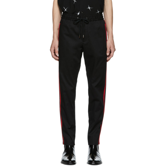 DOLCE AND GABBANA BLACK STRIPED TROUSERS