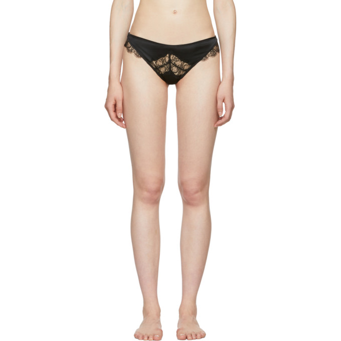 KIKI DE MONTPARNASSE BLACK SENSUAL SILK LACE BRIEF