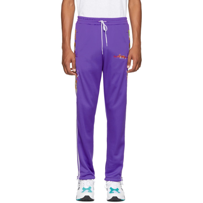DOUBLET PURPLE CHAOS EMBROIDERY TRACK PANTS
