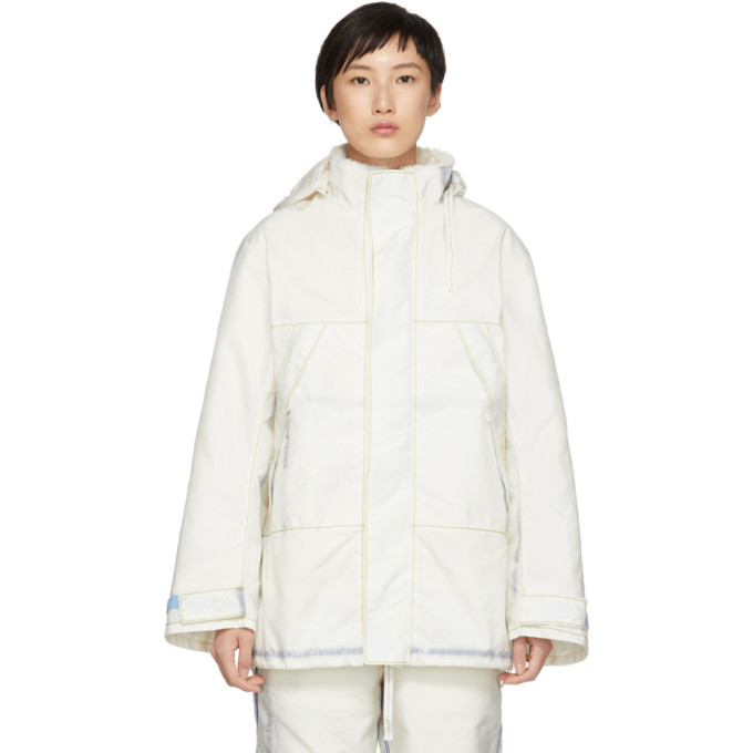 KANGHYUK Kanghyuk Off-White Airbag Half Jacket in White Fakef