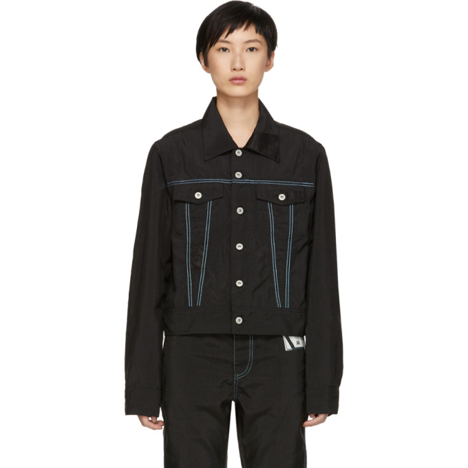 KANGHYUK Kanghyuk Black Nylon Airbag Jacket in Black/Skybl