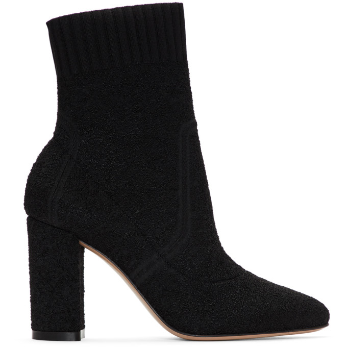 GIANVITO ROSSI Black Bouclé Ankle Boots
