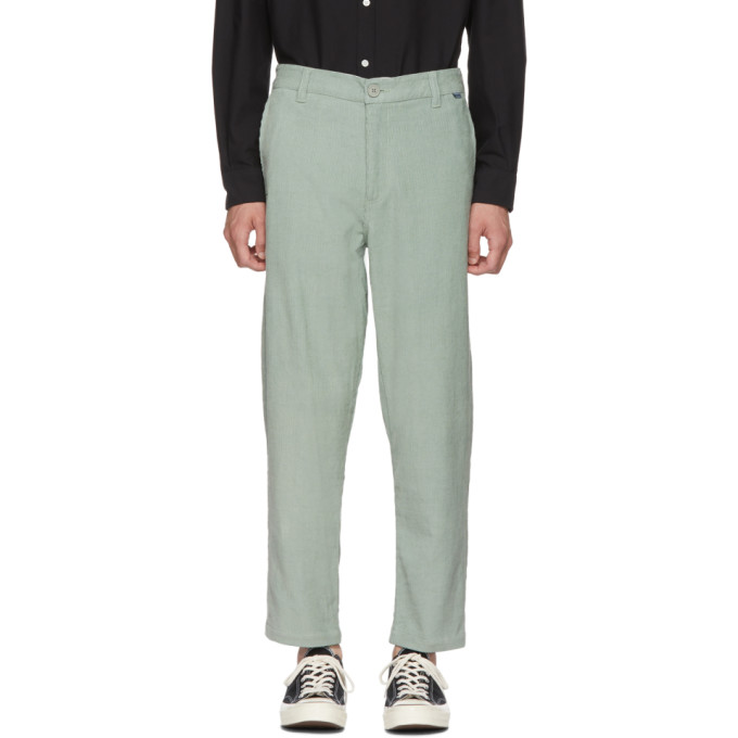 DICKIES CONSTRUCT GREEN CORDUROY STRAIGHT SLIM TROUSERS