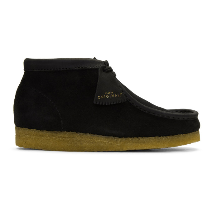 CLARKS ORIGINALS Clarks Originals Black Suede Wallabee Boots