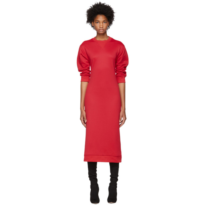 Cotton-Blend Sweatshirt Dress in Cherry Red