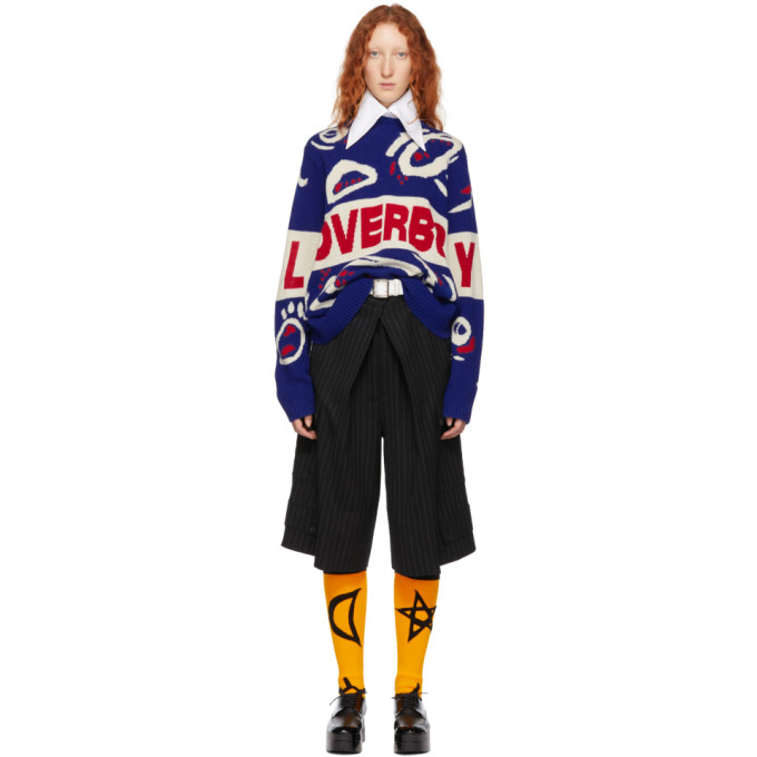 CHARLES JEFFREY LOVERBOY BLUE AND RED WOOL LOGO SWEATER