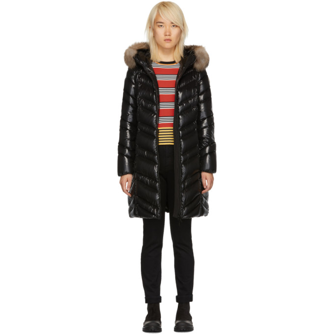 f0369b02ab4f Moncler Albizia Quilted Down Coat With Fur-Trimmed Hood In Black ...