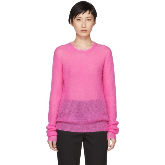 Featherweight Mohair-Blend Crewneck Sweater in Wkv Gum