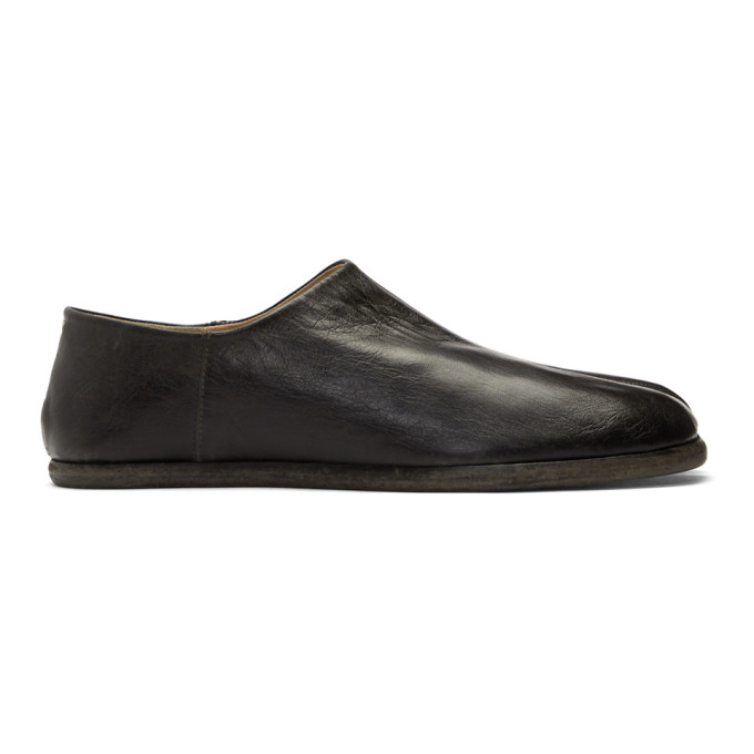 Tabi Collapsible-Heel Split-Toe Leather Loafers in Black
