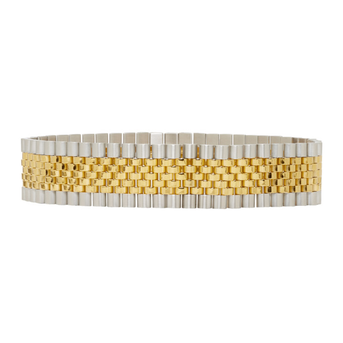 Alexander Wang Gold And Silver Watch Band Choker, 000 Sil/Gol
