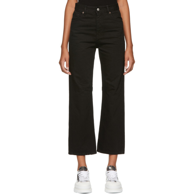 MM6 MAISON MARTIN MARGIELA BLACK GARMENT-DYED JEANS