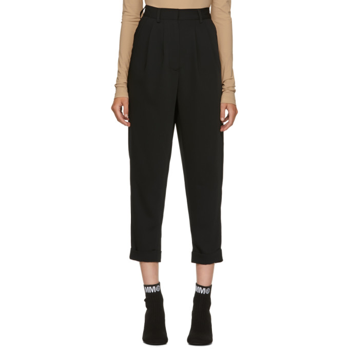 MM6 MAISON MARTIN MARGIELA BLACK FLUID TROUSERS