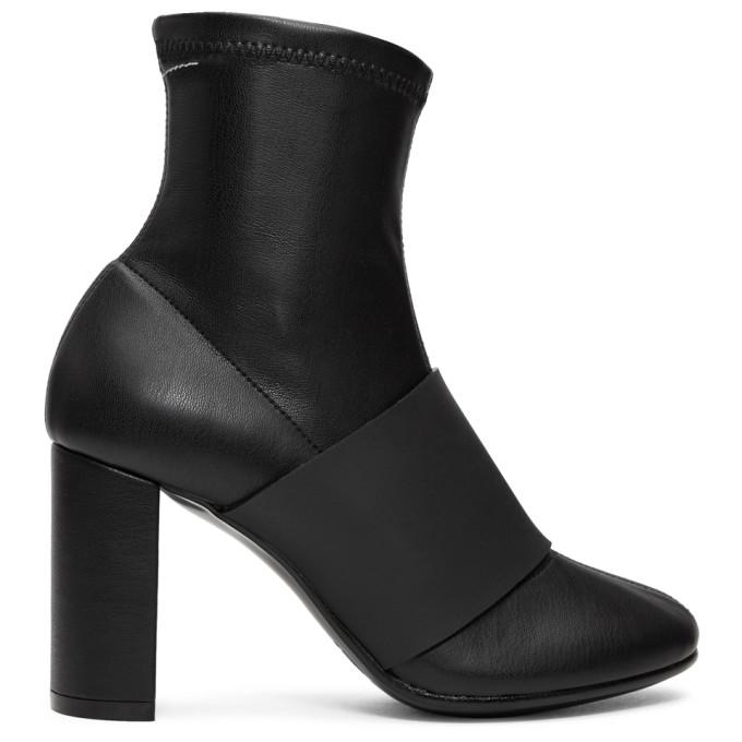 Mm6 Maison Margiela Black Cut Heel Banded Boots, 965 Blk/Blk