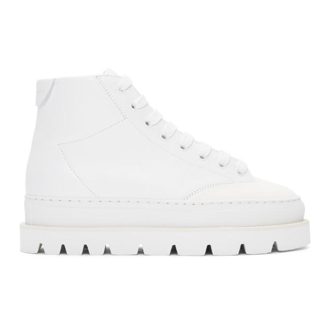 Mm6 Maison Martin Margiela White Leather Platform Sneakers, 961 Wht/Wht