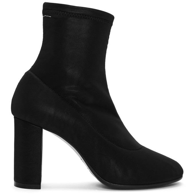MM6 MAISON MARTIN MARGIELA BLACK SQUARE HEEL SOCK BOOTS