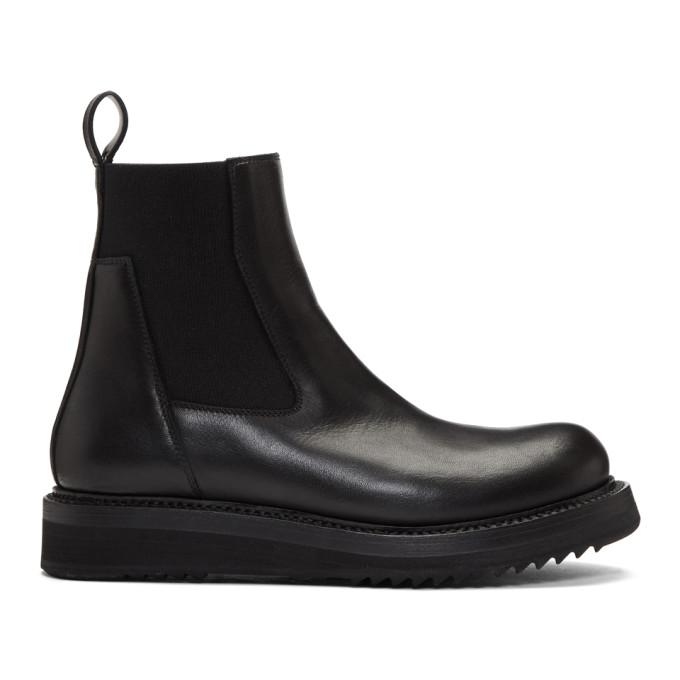 Rick Owens Black Elastic Creeper Boots in 09 Black