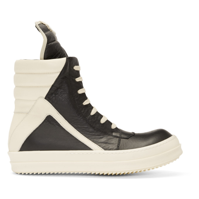 RICK OWENS RICK OWENS BLACK AND OFF-WHITE GEOBASKET HIGH-TOP SNEAKERS