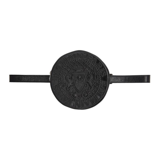 Balmain Black Patent Disco Belt Pouch in Noir 176